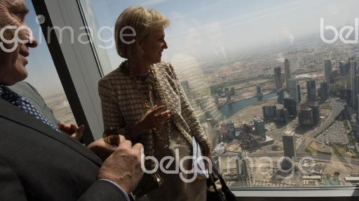 20150326 - DUBAI, UNITED ARAB EMIRATES: Besix CEO Johan Beerlandt and Princess Astrid of Belgium look on overview of Dubai from Burj Khalifa, the tallest building in the world on the sixth day of an economic mission of Belgian Princess Astrid to Qatar and the United Arab Emirates from 21 to 27 March, Thursday 26 March 2015 in Dubai, United Arab Emirates. BELGA PHOTO BENOIT DOPPAGNE
